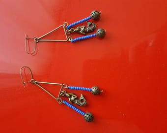 Mermaid and Pearl Earrings in indigo blue seed beads