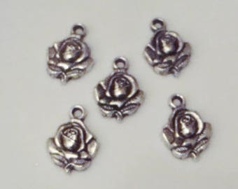 5 charms pink pretty 3D flower