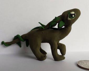 Olive polymer clay dragon