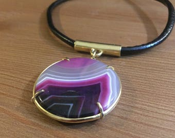 Magenta agate necklace