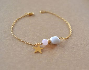 White agate gold plated bracelet and Star