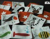 jeu mémory des animaux - 24 pièces en tissu