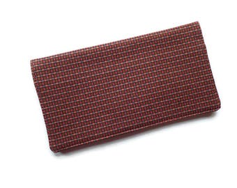 """Checkbook Cover 6.5""""x3.5"""",Brown and Pink Checkered Fabric, Coupons Wallet, Cash Holder, For Him or Her"""
