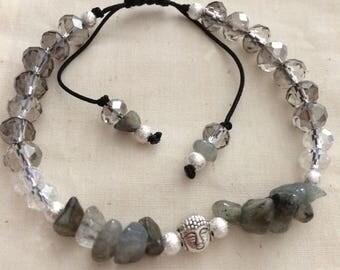 Brass labradorite and Buddha bracelet