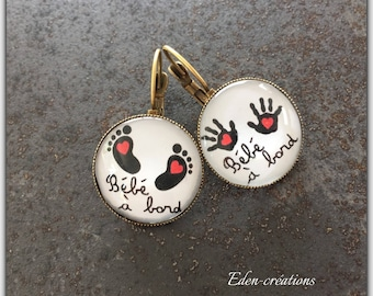 Earrings cabochon glass, baby, maternity, pregnancy, baby