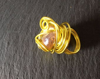 streamers ring yellow aluminum wire, bead flat glass