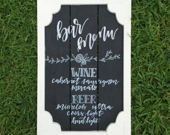 Bar Menu Sign, Wooden Sign, Event Sign, Wedding sign, Open Bar
