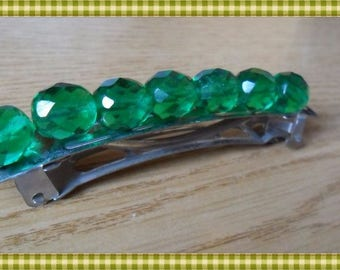 Spring hair with bright green faceted round beads