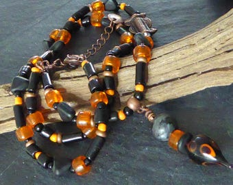 African tribal necklace, black and Orange Lampwork Glass and recycled glass