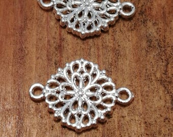 Pair of Silver plated round filigree connector charms