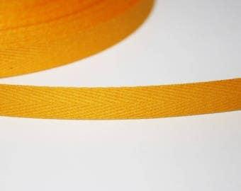 Ribbon 10 mm mustard yellow Twill, 1 m