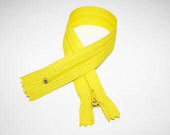 Zip closure, 30 cm, yellow, not separable