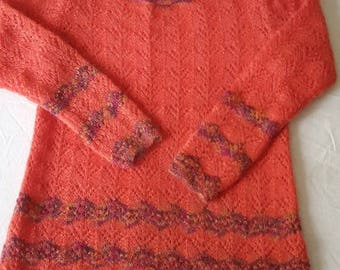 ORANGE MOHAIR TUNIC  lace kid mohair handknitted