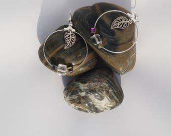 Big hoops earrings beads Crystal and leaf charms