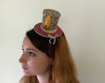 Small top hat Burgundy and mustard