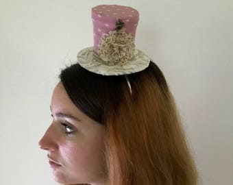 Small top hat pink and beige