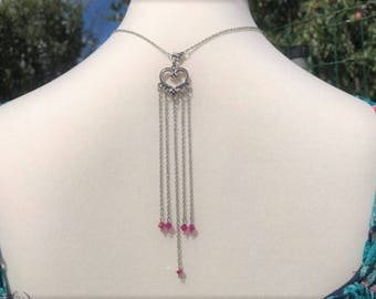 Back in Fuchsia silver jewelry necklace