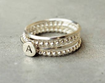 """Billie"" rings 4 stackable rings to be personalized with a monogram"