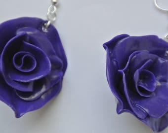 Pink violet flowers shape earrings
