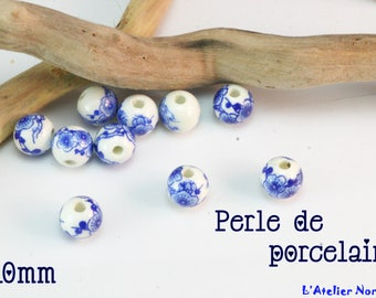 Porcelain blue floral ø10mm round bead