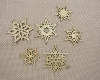 Wooden subjects embellishment: stars