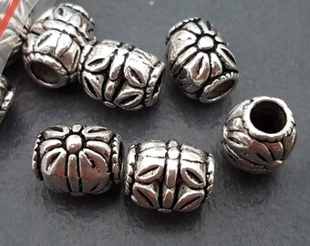 6 beads antique silver elongated 11x10mm