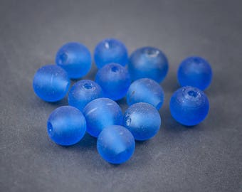 4 pcs beads • Indian, round, handmade Lampwork Glass spacer • blue transparent frosted matte 13mm