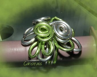 Mint and Silver Flower ring