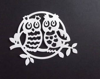 "Set of 10 white cuts ""owls"" for your scrapbooking creations."