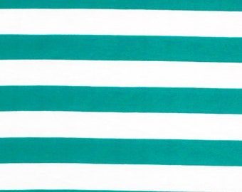Teal Blue and White Stripe Cotton Jersey Blend Knit Fabric **UK Seller**