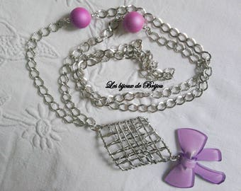 """Lovely long silver metal and glass """"Pink Elegance"""" bow"""