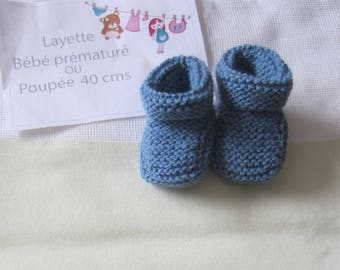 Premature baby booties or baby blue color