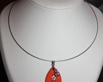 fimo necklace copper and white coral