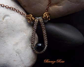 Handmade OOAK wire wrapped black onyx necklace