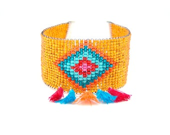 Shaman - Summer Cuff Bracelet, orange tassel