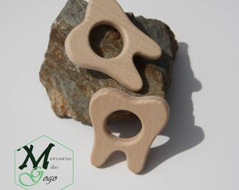 Tooth shape natural wooden teething ring.