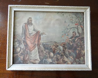 Vintage Small Picture of Jesus Preaching FREE SHIPPING
