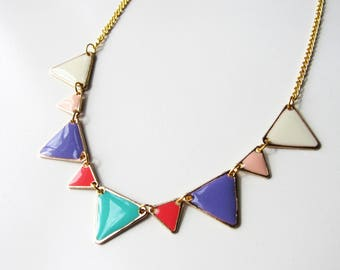 """Summery"" multicolored enamel and gold triangles necklace"