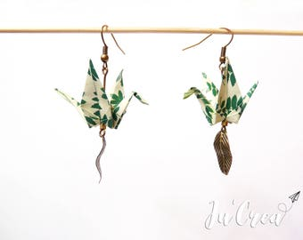 Origami crane jungle earrings