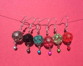 Colorful glass bead earrings
