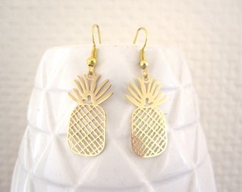 Sequin gold pineapple earrings