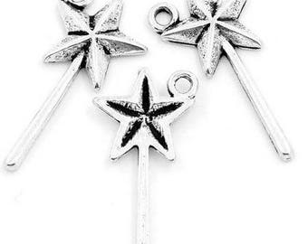 3 wands in silver metal charms/pendants