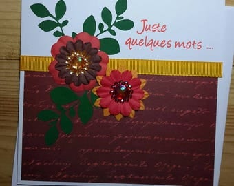 """Card all circumstances """"just a few words"""" floral, predominantly rust-orange"""