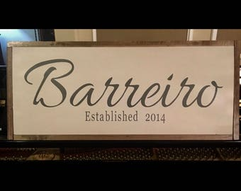 Wood hand painted family name sign