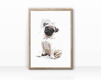 Pug illustration art print