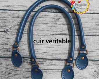 1 pair strap handle length 61 cm blue leather bag handle genuine