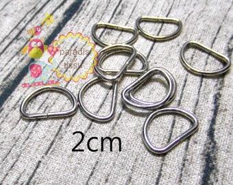 Set of 20 Stirrup shaped D silver 2cm