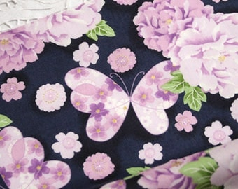 1 x cute Japanese 110x50cm patchwork flower 100% cotton butterfly fabric coupon