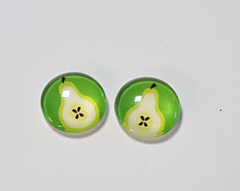 2 glass cabochons 12mm PEAR fruit