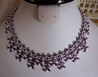 WOVEN WITH PEARLS NECKLACE PURPLE AND WHITE N ° 2